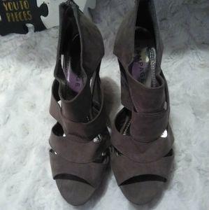 Rampage Shoes - Rampage Suede Grey Wedged Heels